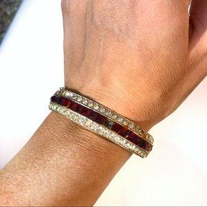 Vintage Ora red glass rhinestone bangle
